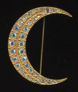 kirks folly aurora borealis rhinestone crescent moon brooch
