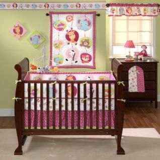 Elephants Giraffes Zebra Baby Girl 3P Nursery Crib Bedding Set
