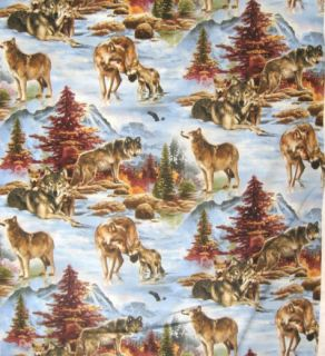North Country Wolf Wildlife Quilt 100% Cotton Fabric BTY Elizabethi