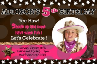 COWGIRL COWBOY WESTERN HORSE RODEO BIRTHDAY PARTY INVITATION PHOTO