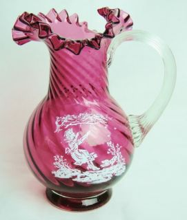 Cranberry Glass Mary Gregory Hand Blown Ruffle Pitcher Girl Swinging