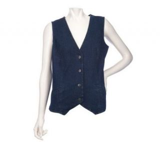 Denim & Co. 4 Button Denim Vest with Welt Pockets —