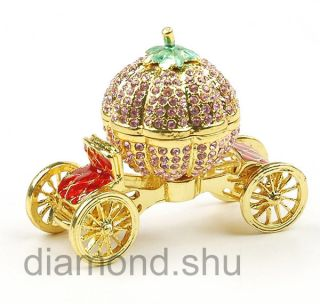 Crystal Pumpkin Car Trinket Jewelry Box