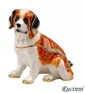 Rucinni Swarovski Crystal SAINT BERNARD Dog Hinged Trinket Box
