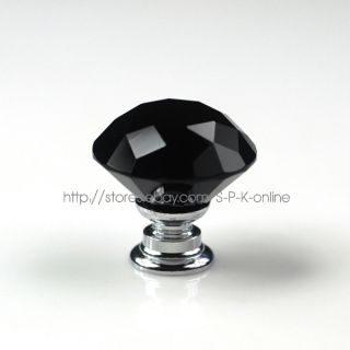 Black Crystal Glass Drawer Cabinet Knob 30mm