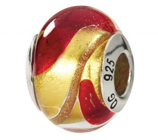 Prerogatives Sterling Yellow & Red Italian Murano Glass Bead   J111796