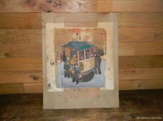 Marion Cunningham Silkscreen Print San Francisco Cable Car Powell and