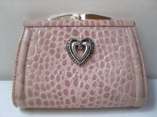 Brighton Leather Pink Croco Heart Wallet Small Purse Case