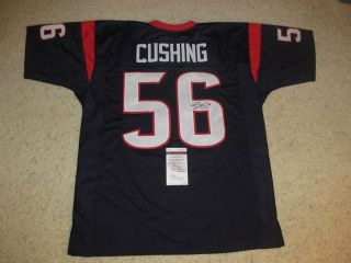 BRIAN CUSHING AUTOGRAPHED TEXANS CUSTOM JERSEY JSA AUTHENTICATION