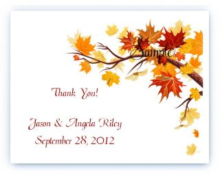 100 Custom Personalized Autumn Fall Wedding Bridal Thank You Cards