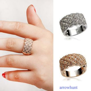 Noble Shining Wide Full Crystal Ring Rhinestone Finger Rings