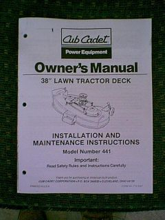 Cub Cadet 38 Tractor Mower Deck 441 Owners Manual