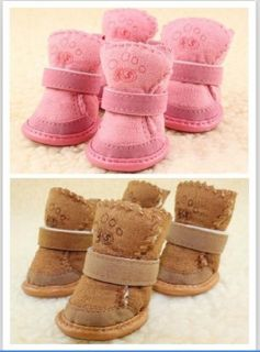 Warm Cozy Pet Dog Boots Puppy Shoes 2 Colors for Winter for Small Dog