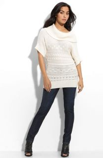 Caslon® Cowl Neck Sweater & Rib Knit Tee with KUT from the Kloth Skinny Jeans