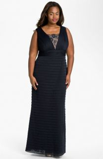 Adrianna Papell Lace Inset Shutter Pleat Dress (Plus)
