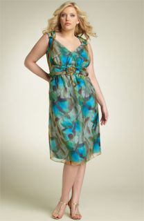 Suzi Chin for Maggy Boutique Floral Silk Dress with Rosette (Plus)