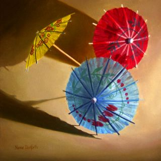 Danforth Three Paper Umbrellas Still Life 8x8 Oil Painting More in My
