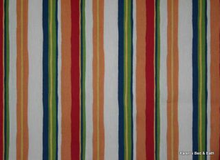 Orange Navy Red Green Cream Stripes Cotton Duck Curtain Valance