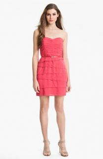 Laundry by Shelli Segal Belted Tiered Mesh Dress