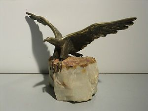 Signed Curtis Jere Brass Eagle on Stone Base Sculpture 1970
