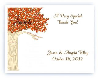 100 Custom Personalized Fall Tree Wedding Bridal Thank You Cards