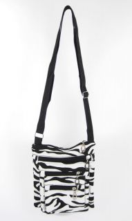Cross Body Bag Purse Zebra Print Zipper Pockets Canvas