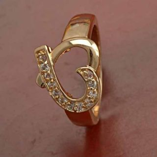 True Love 9K Yellow Gold Filled CZ Heart Ring Size 6 5 B287