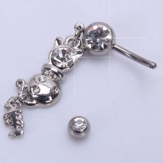 Cute Navel Belly Button Bar Ring Cat and Fish Bone Dangle Barbell Body