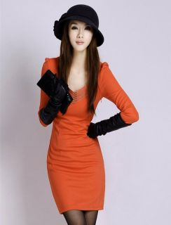 New Korea Women Vogue OL Slim V Neck Z814L Sexy Mini Dress Long