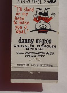 Matchbook Danny McGroo Chrysler Plymouth Imperial Car Culver City CA
