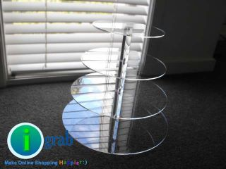 Tier Maypole Circle Clear Acrylic Cupcake Stand Holder Wedding Party