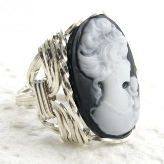 Lady Rose Cameo Ring Sterling Silver Custom Jewelry