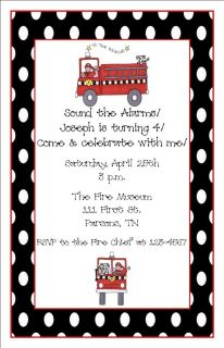 Personalized Firetruck Birthday Party Baby Shower Invitations