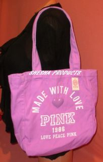 Victoria Secret Pink Made with Love 1986 Tote Bag Small Purple New