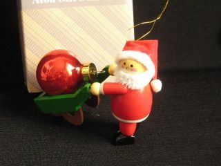 Vintage Retro AVON 1980s NIB Wood Santa Christmas Ornament Red Ball