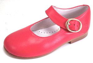 De OSU Faro Spain F 3177 Girls Red Leather Dress Mary Janes Euro 21 34