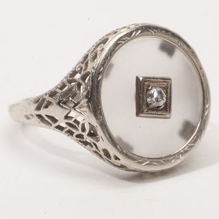Antique Deco 14k White Gold Diamond Rock Crystal Cocktail Filigree