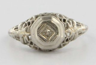 Antique Art Deco 14k White Gold Diamond Filigree Ring Fine Estate