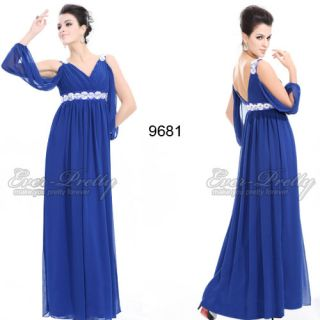Decorative Floral Chiffon Blue Double V neck Sexy Formal Gown 09681 AU
