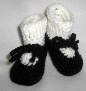 Handmade Crochet Baby Dress Shoes Booties 0 3 Months Black and White