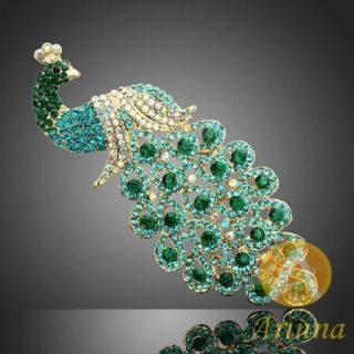 emerald peacock plume lovely brooch pin gold GP swarovski crystals