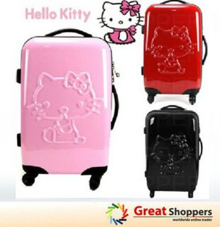 New Kitty Design Trolley Luggage Travel Hard Case Red Black Pink Sharp