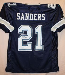 Deion Sanders Autographed Dallas Cowboys Blue Jersey Authenticated by
