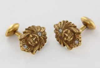 Art Deco 10k Yellow Gold Diamond Indian Chief Mens Cufflinks Pre Owned