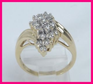 14k Yellow Gold Round Diamond Cluster Cocktail Right Hand Ring .95ct