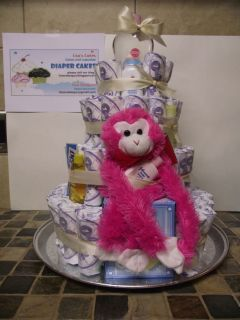 DIAPER CAKE 4 TIER PINK MONKEY & STUFF GIFT/DECORATION COSTUME MADE
