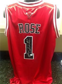 derrick rose signed chicago bulls red jersey jsa coa