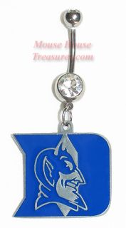 NCAA Duke U Blue Devils Dangle Navel Belly Ring