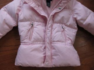 Ralph Lauren Girls 4 4T Pink Hooded Down Winter Coat Puffer Jacket Zip