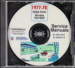 1977 1978 Dodge Truck Shop Manual CD Pickup Power Wagon Warlock Lil